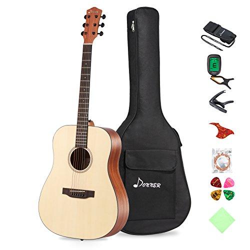 Donner DAG-1 Akustik Gitarre Starter Set Full Size, 41 Zoll Dreadnought Gitarre Natur Mahagoni Fichte mit Gigbag Tuner Gurt Saiten