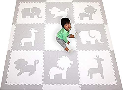 LUZHIWEI Kids Foam Play Mat - Safari Animals Theme - Ungiftige Puzzle-Spielmatten für Kinderspielzimmer oder Baby Nursery - Große Bodenfliesen@Hellgrau, Weiß (Safari Themes Für)