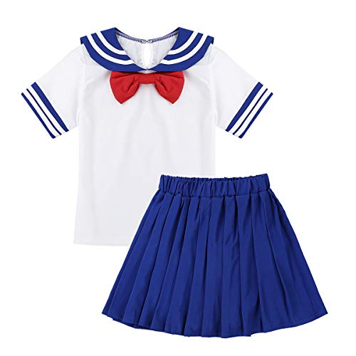 iEFiEL Mädchen Schulmädchen Kostüm Kurzarm Hemd Bluse mit Kragen und Faltenrock Mini Rock Matrose Fasching Cosplay Kostüm Blau & Weiss 122-128