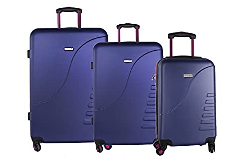 Starres 3-teiliges Trolleyset PIERRE CARDIN violet 4 Räder Handgepäck VS3