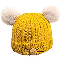 Chicos de invierno para niñas Orejas de gato amarillo sombreros bordados de punto caliente de punto de lana de ganchillo lindo gorro de moda para bebés niños en otoño invierno para actividades de snow