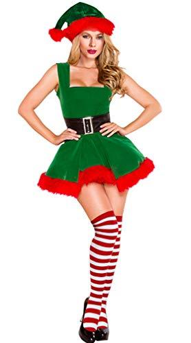 Kimring Women's Mrs Santa Claus Suit Christmas Elf Costume Outfit Velvet Dress