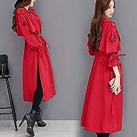 TJOIREJ Abrigos De Mujer Long Trench Coat Mujeres Red Thin WindbreakerCoat Mujeres Doble Breasted, Rojo, XXXL