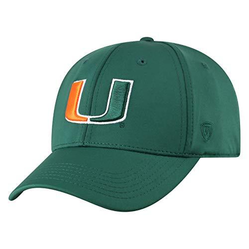 Top of the World Herren Mütze NCAA One Fit Phenom Team Icon, Herren, NCAA Men's One Fit Phenom Team Icon Hat, Miami Hurricanes Green, Einstellbar (Miami Hurricanes Hat)