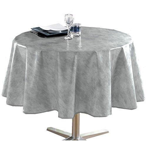 Nappe - Toile cirée unie - diamètre 160 cm - Béton ciré gris