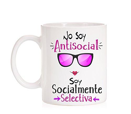 MardeTé Taza No Soy Antisocial Soy Socialmente selectiva. Taza Borde