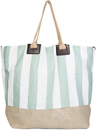 styleBREAKER große XXL Strandtasche mit maritimen Streifenmuster, Schultertasche, Shopper, Badetasche, Damen 02012061, Farbe:Braun-Weiß-Grün