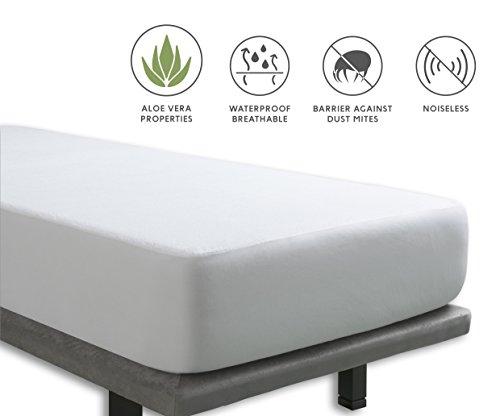 Tural – Protector de colchón con tratamiento Aloe Vera. Impermeable y Transpirable. Rizo 100% Algodón. Talla 90x190/200cm