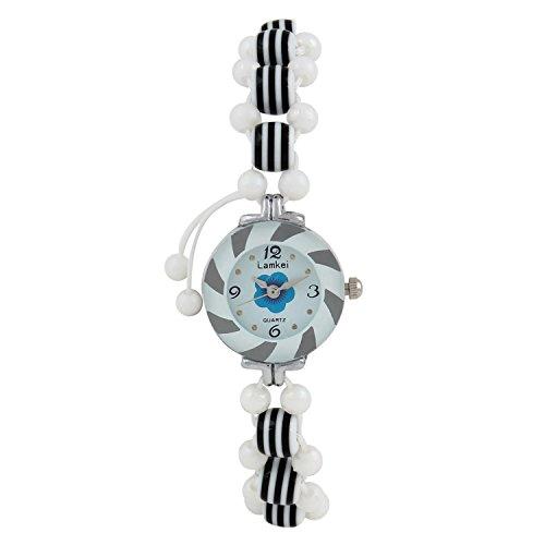 Glitter White Plastic Glass Charm Watch Bracelet For Girls/Women