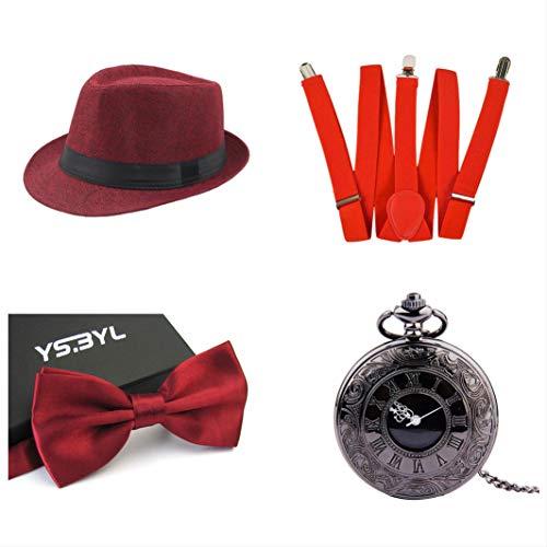 thematys® Cappello Gangster Mafia al Capone + Farfallino + Bretelle + Orologio da Taschino - Set Costumi Anni '20 per Donne e Uomini - Perfetto per Carnevale (1)