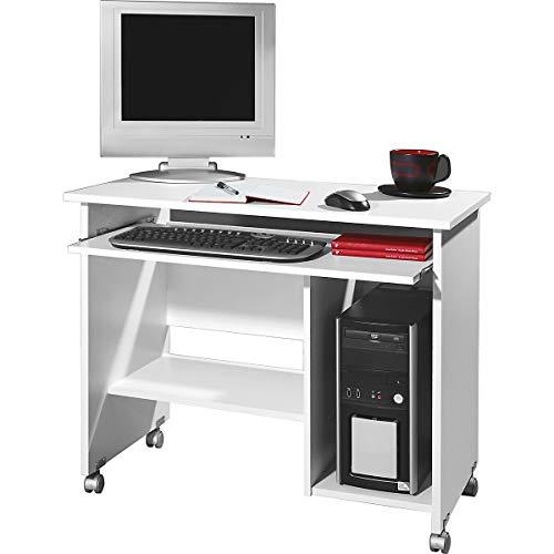 Certeo Computertisch in Weiß | Arbeitstisch mit Platz für PC-Tower | Mit Tastaturauszug | HxBxT 72 x 90 x 48 cm | Bürotisch Tisch Schreibtisch