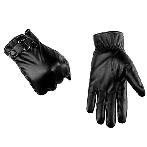 PinzhiGröße Herren Echte Lammfell Leder Knopf Handgelenk-Winter warme Fleece Futter Handschuhe(XL) (Lammfell-futter)
