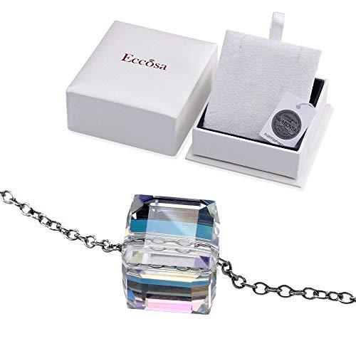 Aurora-Borealis-Halskette   Kristalle von SWAROVSKI mit Echtheitszertifikat   925 Sterling Silber   Allergenfrei   Halskette 45cm für Damen   Verlängerungskette +5cm   Anhänger für Frauen, Mädchen