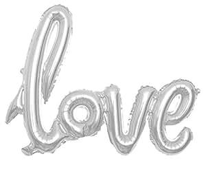 """""""love"""" Folienballon Schriftzug ca. 100cm lang silber"""