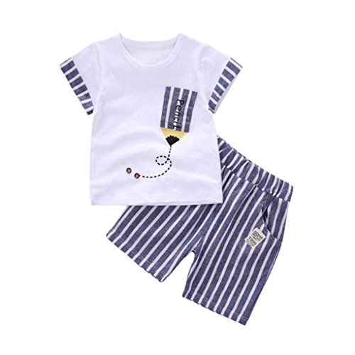 SHOBDW Boys Clothing Sets, Kids Baby Girls Striped Pencil Short Sleeve T-Shirt Tops + Pants Summer Outfits Clothes Newborn Infant Gifts