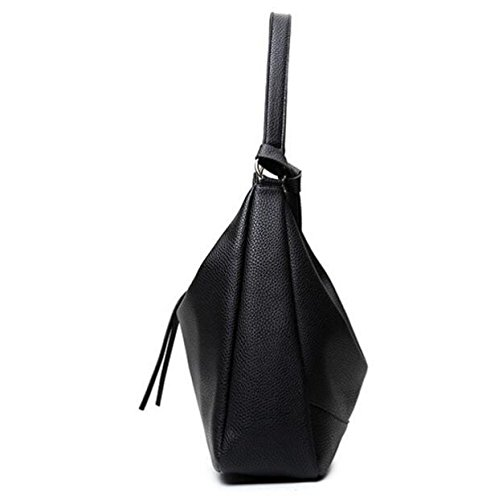 Damen Leder Top-Griff Handtasche Vintage Cross Körper Geldbörse Tasche Black