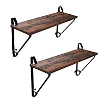 VASAGLE Industrial Floating Shelf Wall Mounted, Set of 2 Wall Shelves, Decorative Display Ledge, Stable Storage Shelf for Living Room, 60 x 20 x 32 cm (L x W x H) Rustic Brown LCR01BX