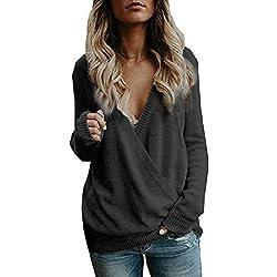 Suéteres Mujer Invierno Jersey de Punto Cuello en V Color Sólido Manga Larga Suéter para OtoñO Invierno Camisetas Blusa Pull-Over Suéter MYMYG