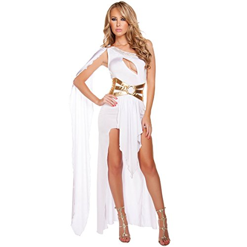 Frauen Halloween Kostüm One Shoulder Sexy griechischen Göttin Kleid Night Club Abendkleid, White