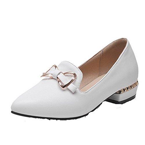 VogueZone009 Femme Mosaïque Pu Cuir à Talon Bas Pointu Tire Chaussures Légeres Blanc