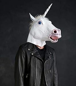 CreepyParty Deluxe Neuheit-Halloween-Kostüm-Party-Latex-Tierkopf-Schablone Einhorn