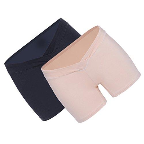 Sharplace 2pcs Damen Umstandsmode unterhose Umstandsunterwäsche Schwangerschafts Slip - Schwarz + Natürliche Haut, M (Boyshort Bund)