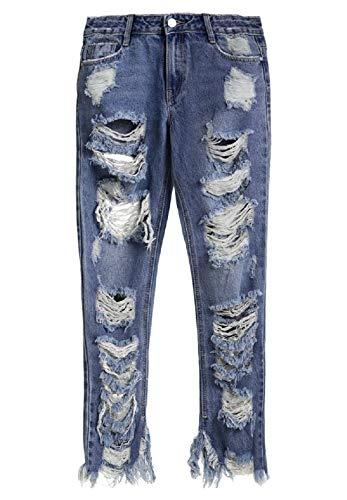 Fuxitoggo Pantalones Vaqueros de Mujer Ripped Up Push Up Casual Denim Stretch Loose Hole Lápiz Pantalones Sexy (Color : Azul, tamaño : S)