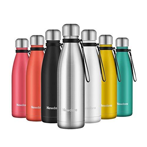 Newdora - Botella de Agua Acero Inoxidable 500ml, Aislamiento de Vacío de Doble Pared, Botellas de Frío/Caliente, con 1 un Cepillo de Limpieza, para Niños, Deporte, Oficina, Gimnasio, Ciclismo