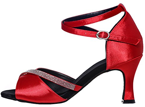 CFP Ladies Latin Dance Shoes Sexy Fashion Tango Cha-Cha Swing Ballroom Party Wedding Prom Sudue Sole 3IN Ankle Straps Peep Toe Satin Red UK Size3