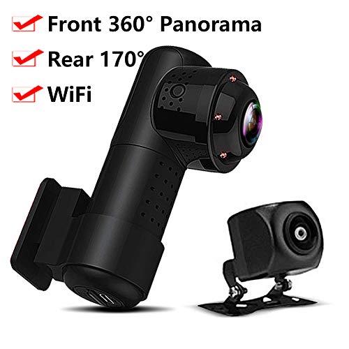 RWXING WiFi Dashcam 4K 2160P 360 Grad Panorama Fischaugen Auto Kamera Dashcam mit 720P Rückfahrkamera,Infrarot Nachtsicht,Parküberwachung und Loop Aufnahme, Mini Vorne Hinten Dual Autokamera Dash Cam