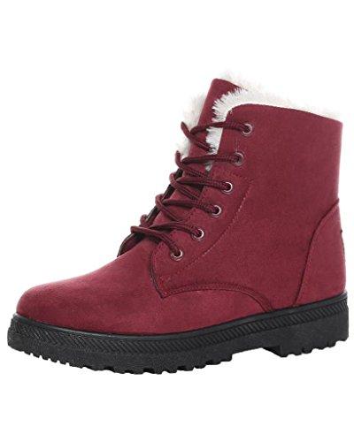 Minetom Donna Autunno Inverno Lace Up Pelliccia Neve Stivali Snow Boots Stivali Cavaliere Sneaker Moda Vino rosso EU 40