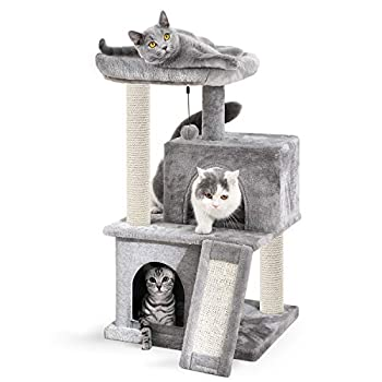 Eono by Amazon - Arbre à Chat avec griffoir et poteaux en sisal, Arbre Chat 2 niches et 1 Platforme Pratique 49 * 45 * 86cm Gris