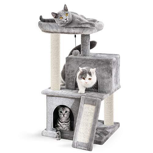 Eono Essentials Árboles para Gatos rasguña los Postes de sisal Natural con Bola de Juguetes para Dormir de Nido Gris