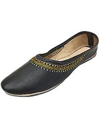Les Femmes De Style Étape N Velours Et Des Chaussures En Cuir Khussa Jutti Homme Punjabi Bombes À La Main Indienne, Jaune, Taille 38.5