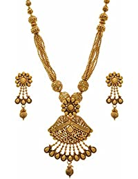 JFL - Traditional Ethnic One Gram Gold Plated Bead Designer Necklace Set With Earring For Girls And Women