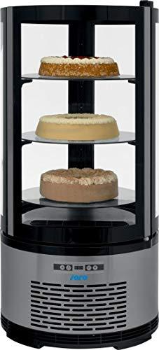 Kuchenvitrine schwarz mit Edelstahlblende/mit 3 höhenverstellbaren Glasböden/100 Liter Kühlteil/doppelverglast/LED-Innenbeleuchtung an 2 Seiten