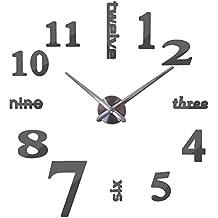 QUTICL Nueva Moda Diy Espejo Acrílico Europa Reloj De Pared Reloj De Cuarzo Grande 3D Todavía La Vida Relojes Salón Decoración De Hogar Pegatinas Gris Oscuro 47 Pulg.