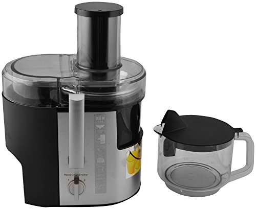 Panasonic 800 Watt Stainless Steel Wide Tube Juicer MJ-DJ01 (Silver & Black)