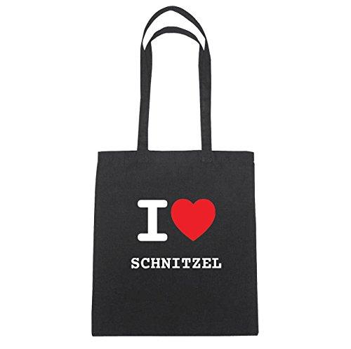 JOllify SCHNITZEL Baumwolltasche Tasche Beutel B6182black - Farbe: schwarz: I love - Ich liebe