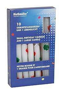 Riethmüller 5057 Velas para pastel de cumpleaños y vida ligera, 10 velas