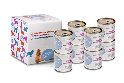 ADOC Cibo Umido per Cani con Ingredienti Naturali al 100% al Pollo con Patate - Pacco da 8 x 285 g