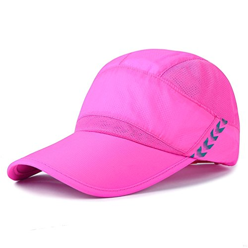 Baseball Cap Quick Dry Lightweight Running Hat Waterproof Breathable of Sun Cap Long Large Bill Sport Caps Cooling Mesh for Unisex Fashion Men and Woman Outdoor Clothes Under 10 20 Hats Rose Red RS89 Panel-mesh-cap
