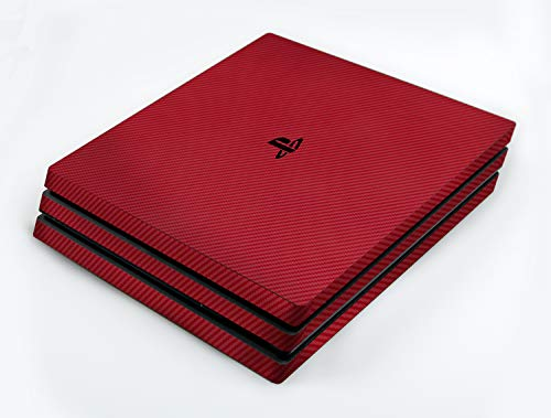atFoliX Skin kompatibel mit Sony PlayStation 4 Pro PS4 Pro, Designfolie Sticker (FX-Carbon-Red), Carbon-Struktur / Carbon-Folie