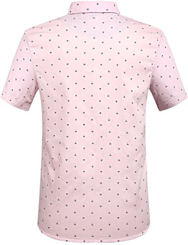 SSLR Herren Freizeit Straight Fit Printing Casual Kurzarm Hemd Rosa