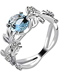 Yellow Chimes Royal Blue Crystal Alloy Silver Plated Ring for Women & Girls