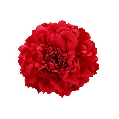Butterme Multicolor Chiffon Blumen Blütenblatt Haar Clip Bogen Clip Barrettes Zubehör Alligator Clip Mädchen Headwear Kopfschmuck Blume Bogen Hairclip (Rot)
