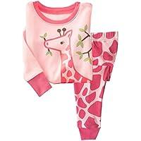 Tkria Bambini pigiama Dolce carino giraffa modello rosa camicia+pantaloni 0.5-6anni