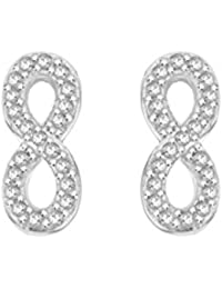 Pave Prive Women's 925 Sterling Silver Round White Diamonds Infinity Stud Earrings
