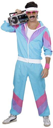 faschingskostuem simpsons Widmann 98872 - 80-er Jahre Trainingsanzug, Jacke und Hose,Mehrfarbig(blau / lila / rosa),M