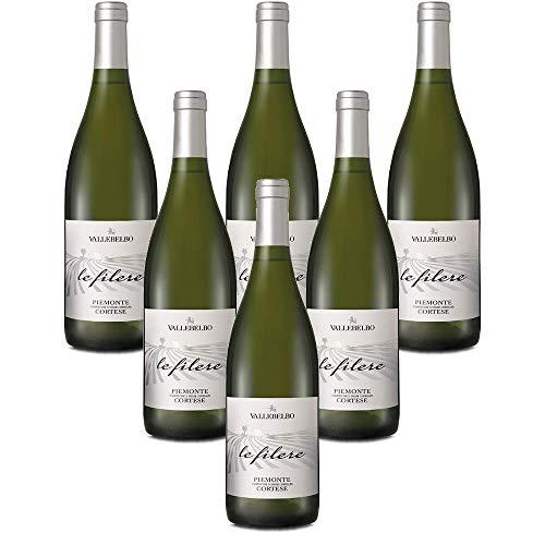 Italienischer Weißwein Piemonte DOC Cortese frizzante Le Filere vino bianco (6 flaschen 75 cl.)